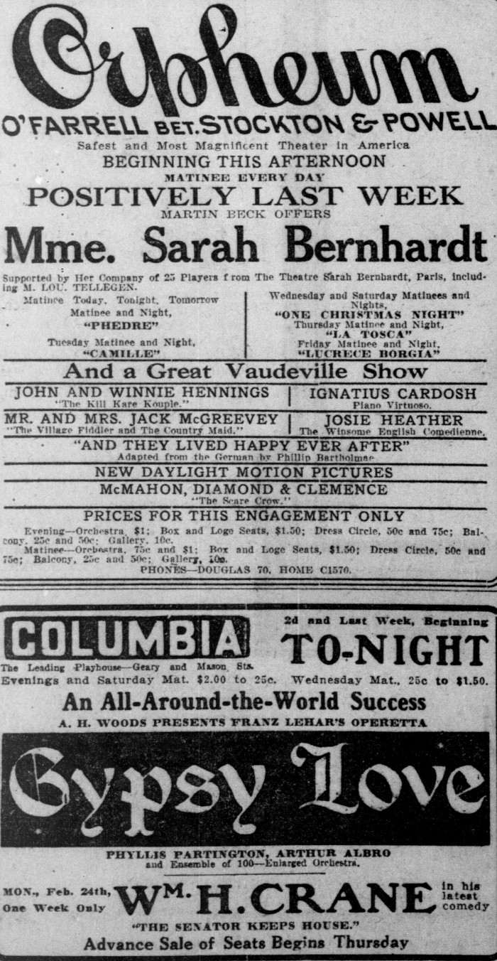 Sarah Bernhardt at the Orpheum San Francisco